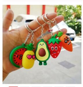 Abacate do coração da menina Simulação 3D Keychain Bag Coin Purse PVC macio Pendant Toy