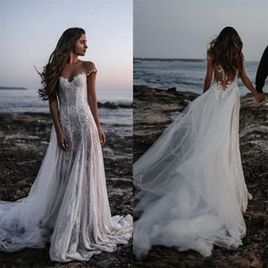 Hot Sale Sexy Off-shoulder Beach Wedding Dresses A-line Sleeveless Illusion Back Appliqued Lace Sequins Bridal Gown Bohemian Bridal Dress