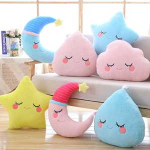 cute sky series plush baby toys stuffed soft cartoon cloud water moon star plush pillow sofa cushion for kids birthday gift MX200716