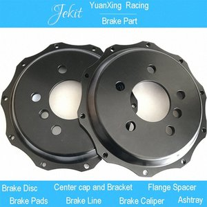 Jekit car brake 2piece metal brake drum with 2 piece 7075 rear center cap and 2 piece front flower center cap for Land Cruiser G14o#