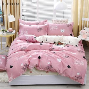 Jogo do fundamento família Double Queen Duplo-de-rosa bonito branco Cat Colcha Single Girl Folha de cama fronha 4pcs Cotton Duvet Cover Set