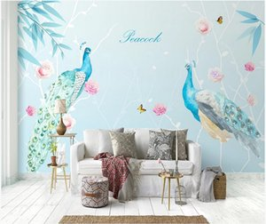 3D murals wallpaper cloth custom photo Nordic peacock flower branch sofa TV background wall 3d landscapes room wallpaper for walls