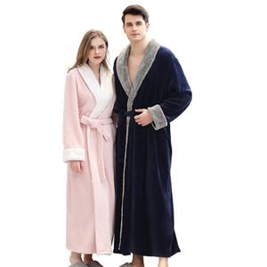 2020 Winter warme Flanell Robes Coral Fleece Lange Bademantel Frauen-Pyjamas Herren Kimono Bademantel Brautjungfer Sexy Morgenmantel