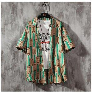 Designer Shorts de planche à roulettes Lapel Neck Shirt Hommes Hawaii Beach Blouses Mens rayé en vrac d'été Chemises homme