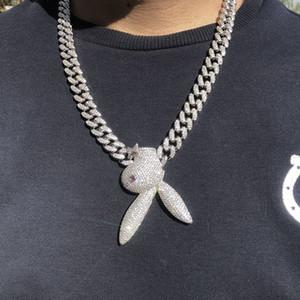 Erkek Takı buzlu Out Upside Down Bunny Küba Zincir kolye 18K Beyaz Altın Kaplama Mens Hip Hop Takı Hediye
