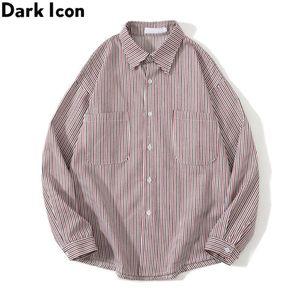 Men's Casual Shirts Dark Striped Thick Shirt Jacket Men Turn-down Collar Long Sleeve Outwear