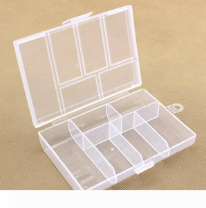 Empty 6 Compartment Plastic Clear Storage Box For Jewelry Nail Art Container Sundries Organizer Free Shipping wen4652