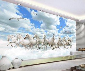 3d camera carta da parati panno fotografico personalizzato Dieci cavalli nella decorazione della casa del cielo Sfondo camera murales 3d vivono carta da parati per le pareti 3 d