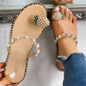 Woman Beach Summer Slippers Bohemian Fashion Beaded Pearl Pineapple Flip Flops Women Outdoor Flat Sandals Casual Shoes#G8