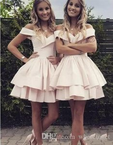 Charming Summer Homecoming Dresses Pale Pink 2020 Off The Shoulder Short Cocktail Party Dresses Bridesmaid Gowns Formal Party Dress