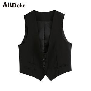 ALLDOKE black casual single breasted vest women summer v neck sleeveless pockets coat vest vintage black ladies short mujer