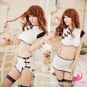 Konstante Versuchung sexy Nachtclub Kostüm Weiß aufgeteiltes cheongsam reizvolle Unterwäsche Keine Unterwäsche cheongsam Kleidung cheongsam. 20032