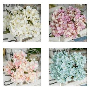 Simüle Ortanca Yapay Çiçek 6 Heads 32cm Ofisi Masaüstü Ev Dekorasyonu El Yapımı Eşsiz İmitasyon Ortanca Partisi