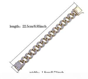 K Mens 18mm 22 .5cm Top Quality Full Bling Zirconia Triple Lock Luxury Bracelet Hiphop 18k Gold Plated Luxury Jewelry