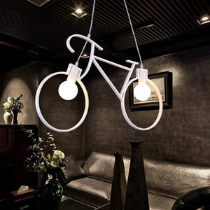 Indoor Retro Nordic Modern Iron Bicycle Chandelier Cafe Lighting LED Loft Bar Ceiling Lamp Bedroom Droplight Store Home Decor Gift