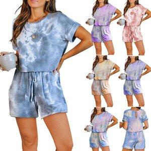 Tie-tingidos Mulheres Jumpsuits de manga curta T-shirt + Shorts macacãozinho Moda de uma peça Bodysuit Casual Sportswear Verão Roupas Roupa das senhoras