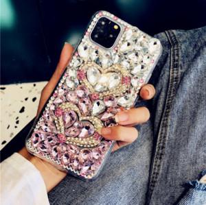 cajas del teléfono del diamante del diseñador de lujo para iphone11 XS Pro max xr 7 8plus cristal gradiente contraportada diamantes de imitación completa para Samsung S10 plus