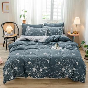 TUTUBIRD Gray star and moon print bedding set bedclothes 100% cotton bed linen soft queen king twin duvet cover homeGQ