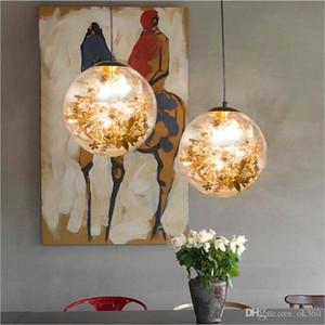 Restoran Salon Bar Showroom için Lamba Asma E27 Cam Topu Kolye Işıklar LED Altın Gümüş Çiçek Cam Sanatı