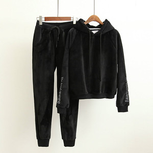 Autumn winter women velvet tracksuits two piece set hoodie+pants embroidery letters womens vintage korean velour sets clothing