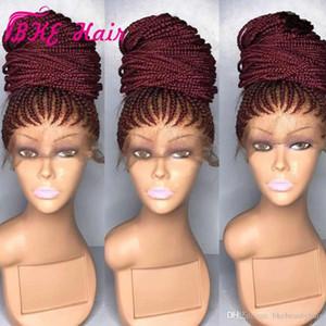 Высокое качество Длинные коробка Braid парик Плетение синтетический парик фронта шнурка черный бордовый красный цвет заплетать волосы в косички косы кружева парики Для чернокожих женщин
