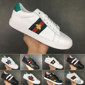 Bee designers shoes Top Quality New ACE embroidered white black Paris Genuine Leather Designers Sneaker Men Dress Women Casual Shoes JNH9K