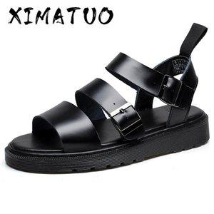 Ramialali Новая мода лето сандалии обувь Корова натуральной кожи Мужские сандалии Нескользящие резиновые Подошвы Бич Мужская обувь
