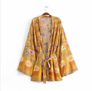 Gypsy Imprimir Brasão Curto Kimono Mulheres Boho Sashes Amarrado Praia manga comprida Kimono Coats Bohemian Feminino Outono Nova