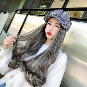 female long hair full Wig Red Hat wig head long curly hair Big Wave Fashion Net Red Hat