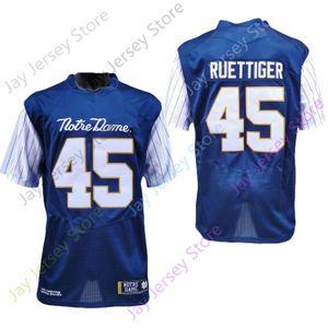 2020 Yeni NCAA Notre Dame Mücadele İrlandalı Formalar 45 Rudy Ruettiger Koleji Futbol Jersey Mavi Boyut Gençlik Yetişkin