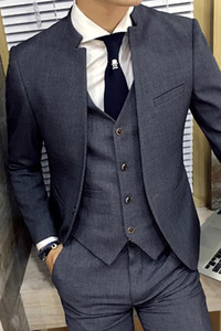 Grey collare del basamento 2020 New Business Slim Fit Mens Suit Slim Fit Custom Made costume Homme Abiti Uomo formale Grooming 3 Pezzi
