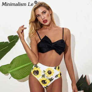 2020 New Solid Bikini High Waist Print Swimwear Women Sexy Backless Swimsuit Female Badage Bathing Suit Summer Beachwear Mujer