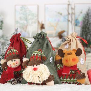 NewChristmas Santa Sacks Vintage Gifts Bag Linen Cloth Drawstring Treat Bag Christmas Stocking Holders Holiday Party Supplies H