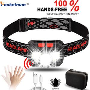 Scheinwerfer Super Bright 6000Lms LED nachladbare Körperbewegungs-Sensor-Scheinwerfer Camping-Kopf-Licht-Fackel-Lampe mit USB