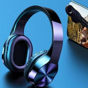 T5 Casque sans fil TF de soutien Jack LED carte lumière Bluetooth écouteurs stéréo écouteurs 9D de musique Casques d'écoute avec micro