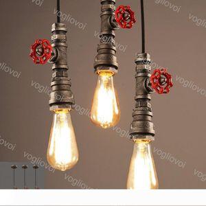 Pendant Lights Industrial 110V 220V Vintage Water Pipe Edison Bulb Pendant Lamps Loft Retro Bar Ceiling Lamps Fixture Luminarias EUB