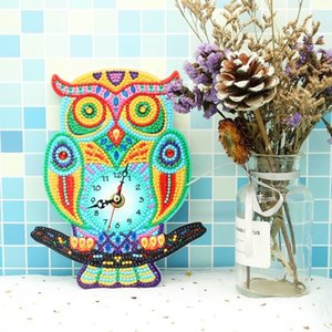 New Arrival 5D DIY Diamond Clock Wall Decoration Owl Diamond Painting House Office Ornament Cross Stitch Embroidery Kids Gift T200117