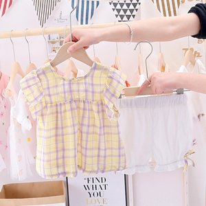 WGqng Kız kısa kollu elbise çocuk Şort giyim giyim Ekose yarım kollu şort Batı tarzı rahat iki parça bir takım küçük gir
