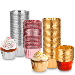 Aluminum Foil Cupcake Hemming Cup Baking Resistance Health Cupcakes Paper Cups Holder Safe 0 Bake Ware Pure Color 14tm C2