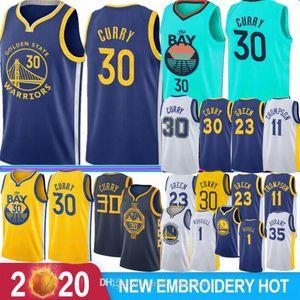 NCAA Stephen 30 Curry Retro Kevin 35 Durant Basketball Jerseys 1 Russell Draymond 23 Green Klay 11 Thompson Andre 9 lguodala Hot Sale 2020 0