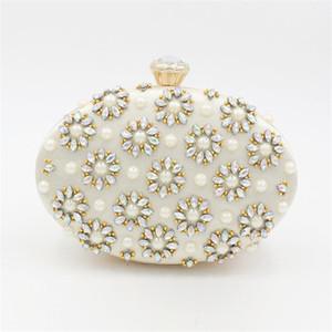 Abera 2020 yumurta şekilli akşam çanta inci çiçekler düğün debriyaj zincir düşmesini MN1456 nakliye ile elmas parti çantaları cüzdanlar