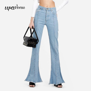 UpAvonu 2020 Fashionable Women's Denim Pants Black Blue Jeans Casual High Street Flare Pants High Waist Button Elastic Jeans