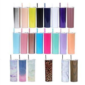 20 oz dünn tumbler edelstahl vakuum isoliert schlanker tasse bier kaffee tasse gläser mit deckel und strohsee versand cca10386-1
