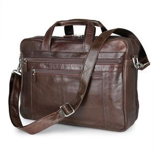 ABER Nesitu Большой черный кофе из натуральной кожи Business Travel Bag 14 «» 15.6 «» Laptop Мужчины Портфель Портфель Сумка Сумки M7319