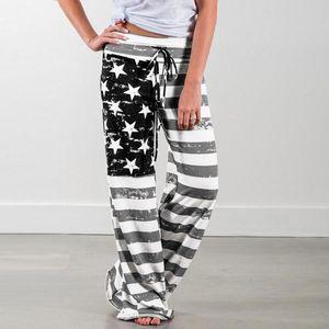 Mulheres American Flag cordão Grande Pants Plus Size Leg Mid cintura exterior Correndo Leggings Sweatpants Mulher 2020 Hot