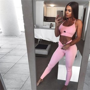 2PCS Women Sport Wear Spaghetti Straps Hollow Vest Sports Yoga Suit Tank Top Long Trousers Outfit Set For Running Training Yoga