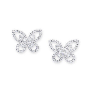 Luxury 925 Sterling Silver Iced out CZ Premium Diamond Cluster Zirconia Round Butterfly Stud Earrings for Women Fashion Jewelry