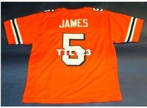 Uomo-ORANGE # 5 Edgerrin James CUSTOM UNIVERSITÀ DI Miami Hurricanes universitario Jersey formato s-4XL o personalizzato qualsiasi nome o numero di maglia