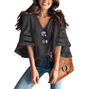Kaguster verão camisetas Office Lady Chiffon V-Neck alargamento Mulheres manga Blusas Plus Size emendado Patchwork Blusa