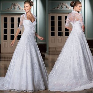 Sweetheart Lace A-Line Wedding Dresses With Short Sleeves Jacket Women Bridal Gowns Two Piece Spring Robe De Mariee